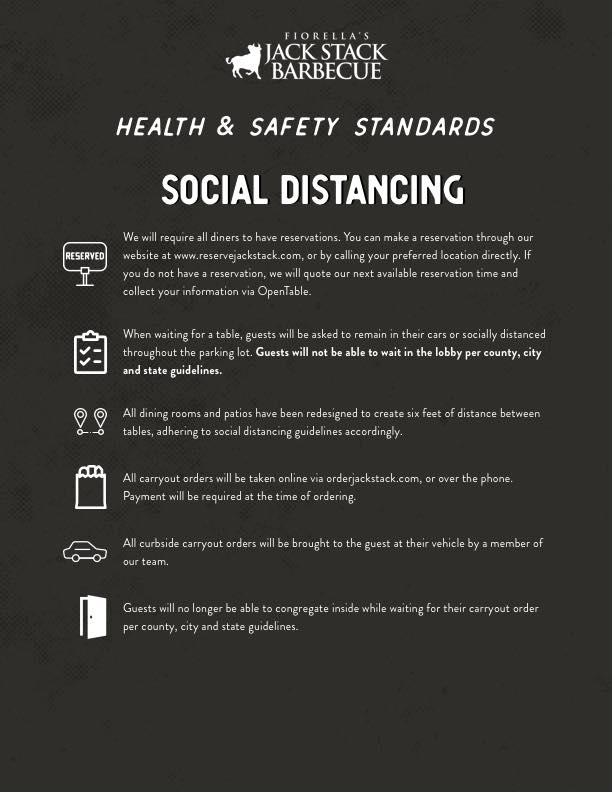 Social Distancing - Jack Stack Barbecue's Health & Safety Standards