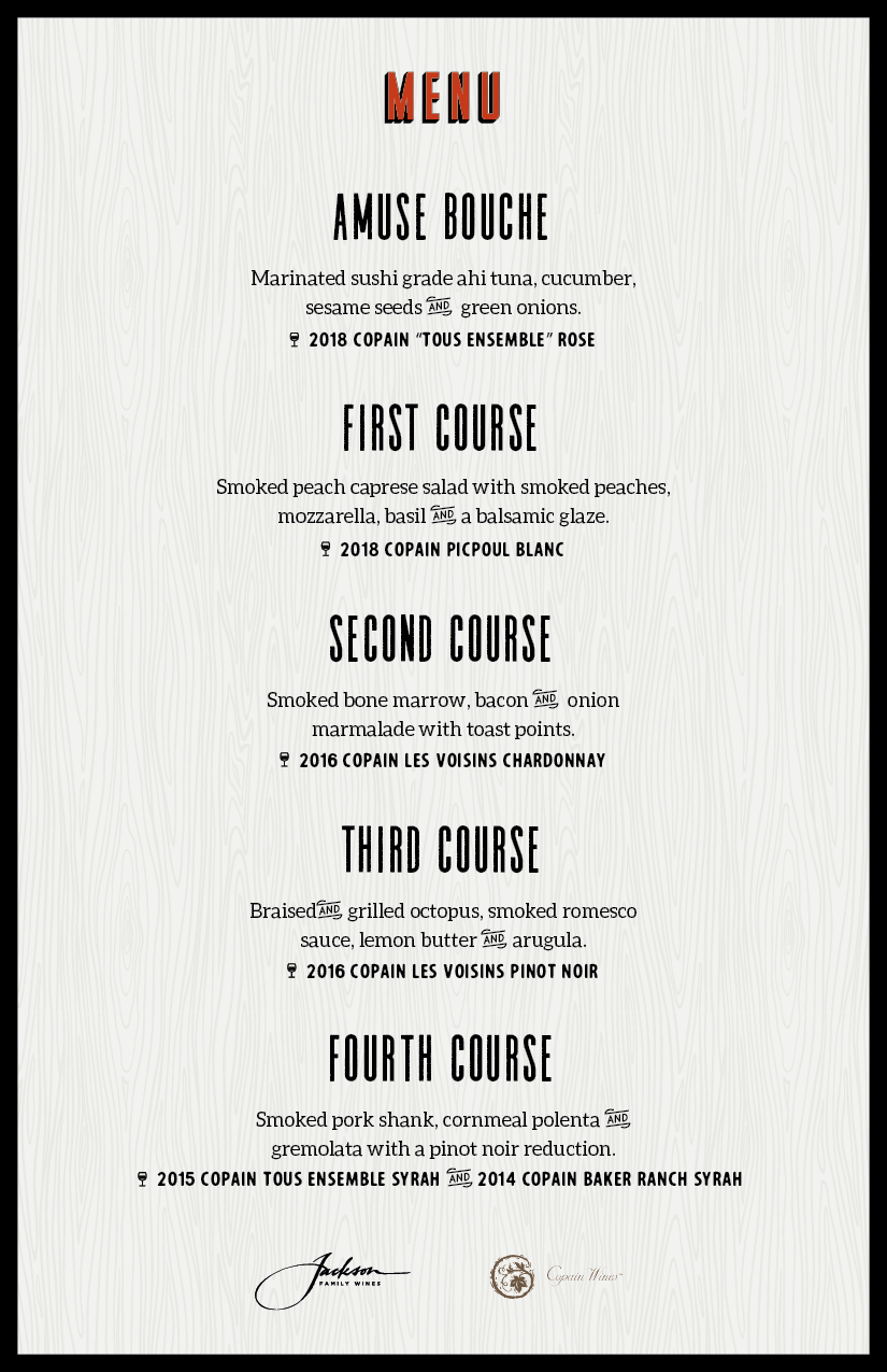Freight House Wine Dinner Menu - Copain Wines